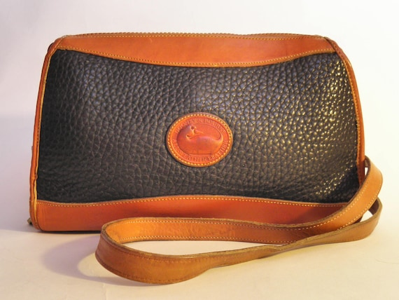 Vintage Dooney & Bourke Black Tan Leather Shoulder Bag