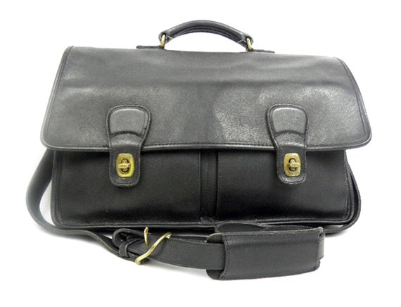 Made in 1996 Coach Briefcase ORGANIZING Black Glove Tanned Leather Vintage Briefcase Padded Shoulder Strap