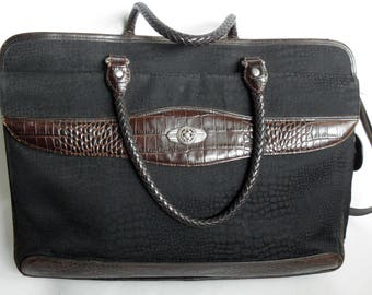 Vintage Black Brown BRIGHTON Mock Croc Briefcase Laptop Messenger Bag