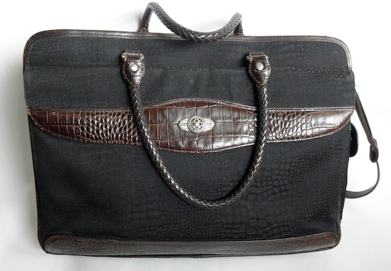 Vintage Black Brown BRIGHTON Mock Croc Briefcase Laptop Messenger Bag