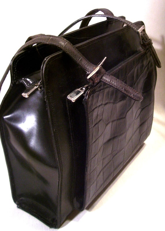 PRICE REDUCED - Harold Powell Vintage Italian Purse Black Mock Croc Leather Purse Bag Vintage Satchel