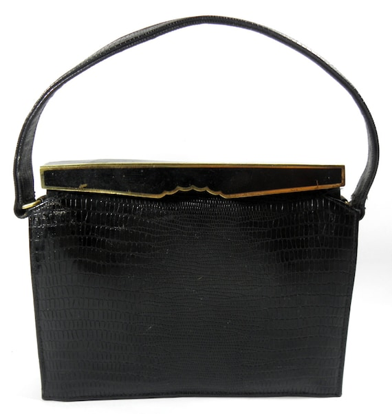 Reserved for Thelma 1950's Vintage Meyers Black Faux Alligator Evening Bag - With Stunning Gold-Tone & Black Metal Top Closure