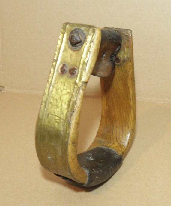 PRICE REDUCED - Old Wooden Horse Stirrup with Copper Metal and Leather