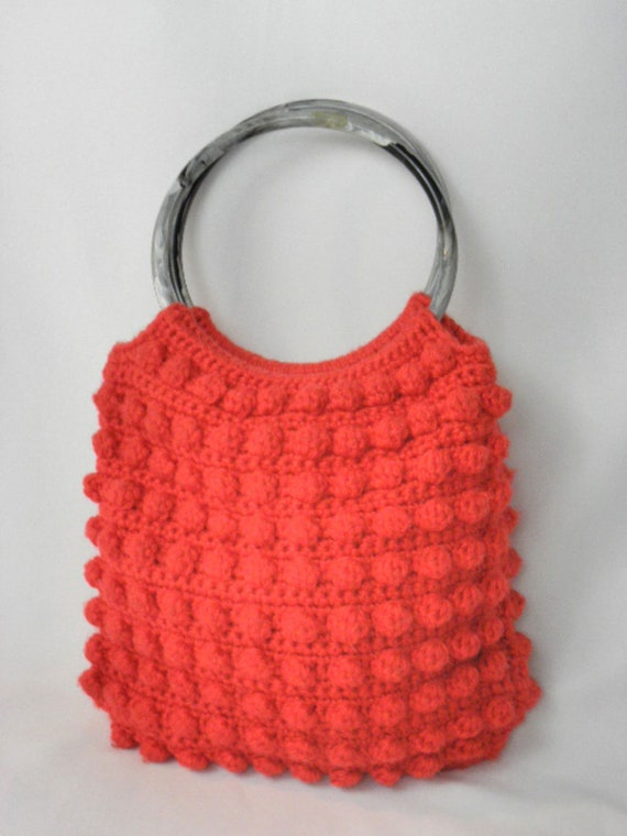 Vintage Handmade Red Crochet Tote Purse Bag - Exce
