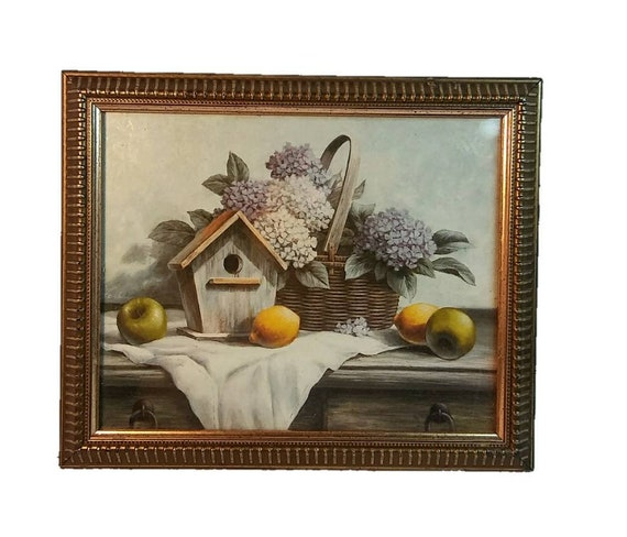 Vintage Country Still Life Print - Birdhouse Fruit Flower Basket Wooden Table from the 1970's