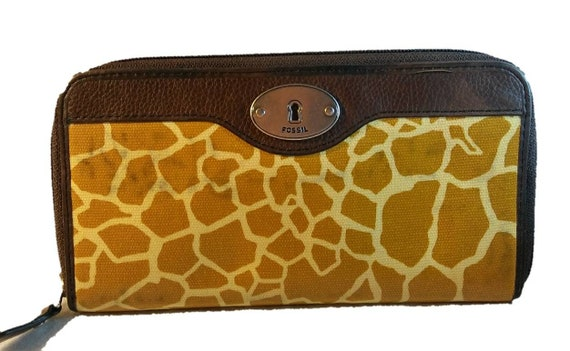 Fossil KEYPER WALLET Vintage Giraffe Print Vinyl Wallet from the 1990s