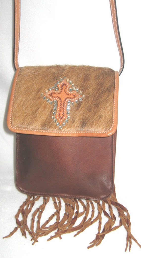Montana Silversmith Leather and Fur Cross Bag Vintage Purse