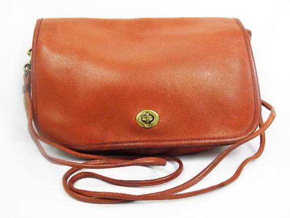 Vintage Copper Rust COACH LEATHERWARE Crossbody Shoulder Purse Spaghetti Straps - made in New York City '70's