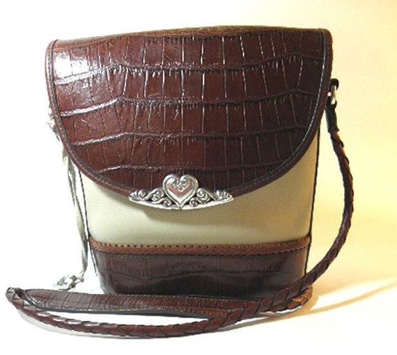 RARE Brighton Western Brown and Cream Vintage Purse with Mock Croc and Silver Tone Metal Decor, 1990's