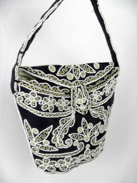 Vintage Beaded Black Shoulder Purse Bag - made in FRANCE