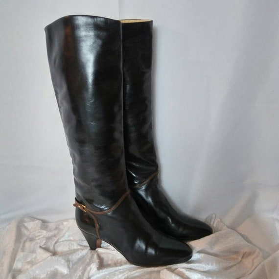 Vintage Bally Black Leather Riding Boots from '70's size 7
