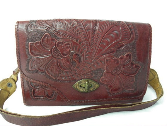 Vintage Maroon Red Western Tooled Leather Purse Bag from the 40's - 50's