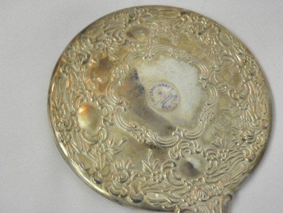 MARKED International Silver Company Art Deco Silver Plated Hand Mirror