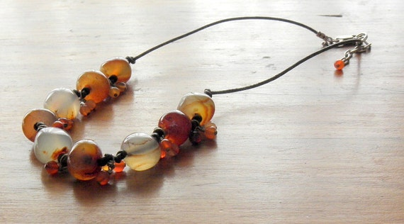 Vintage Madagascar Red Orange Carnelian Agate Necklace