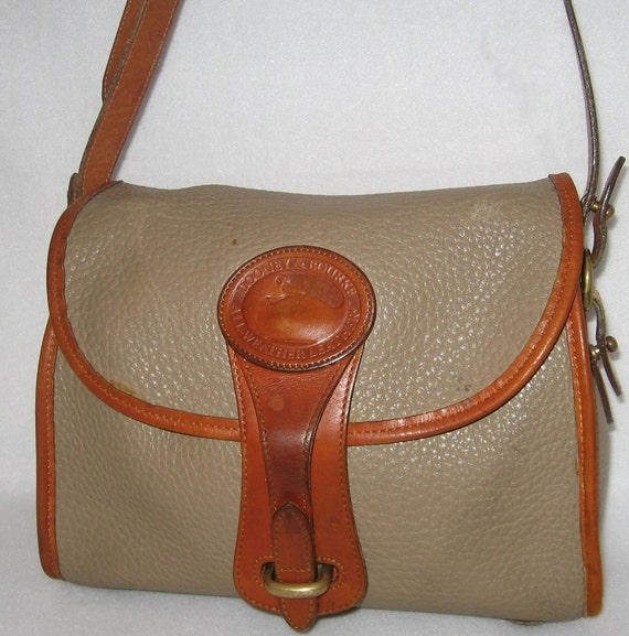 Vintage Dooney And Bourke Purse All Weather Leather Taupe and British Tan Shoulder Bag