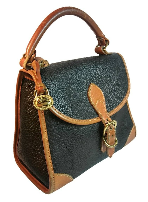 RARE Vintage Equestrian Two-Toned Dooney & Bourke All Weather Leather Handbag in Black and British Tan