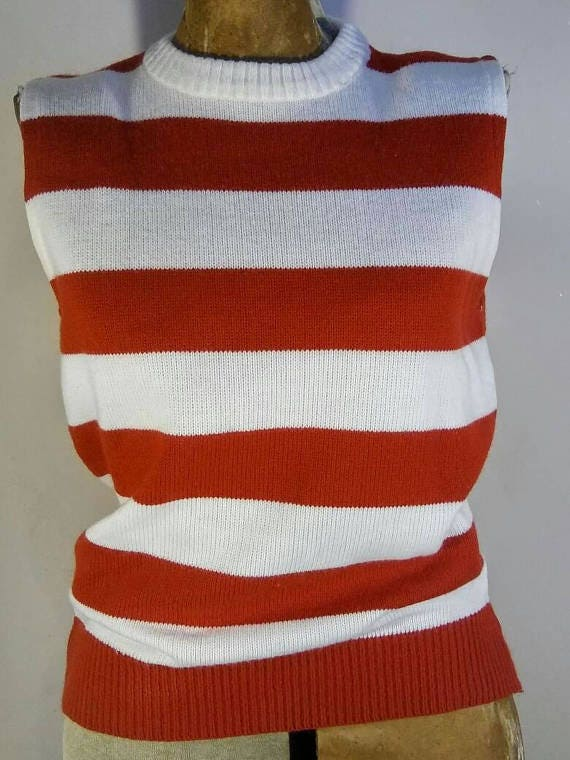 VINTAGE Dehen Knitting Co Red & White Stripe Nautical Women's Sweater Sz M