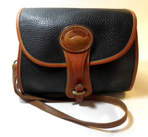 Dooney & Bourke Black and British Tan Pebbled All Weather Leather Equestrian Vintage Purse 1980's
