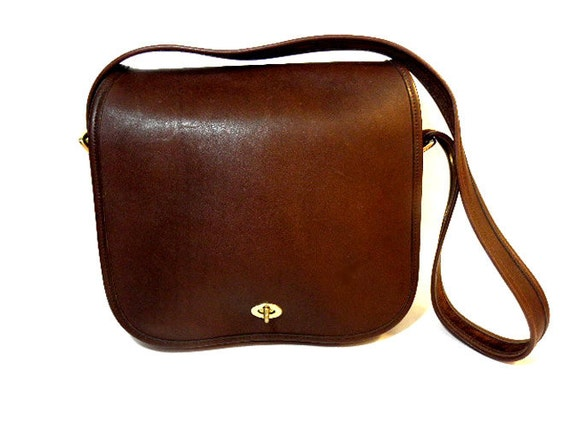 XTRA LARGE Chocolate Brown Glove Tanned Leather Flap Over Vintage Coach Shoulder Bag, circa 1990