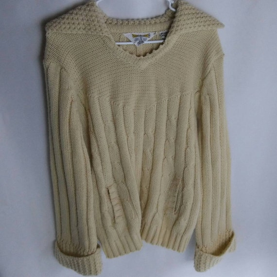 Norton's Point Vintage Acrylic Yellow Tan Rib Knit Sweater Medium