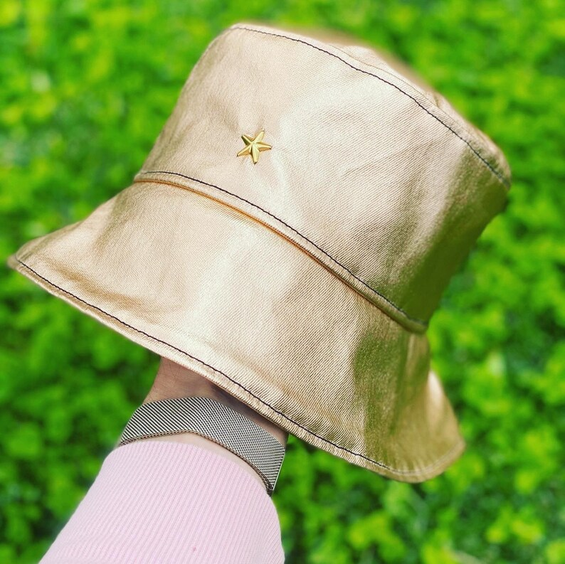 or Waterproof for Rain Weather Summer Vacation /& Festival Clothing Streetwear Gold Bucket Hat for Men and Women in Cotton