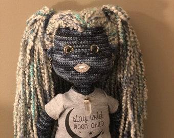 Stay Wild Moon Child Doll, Art doll, moon child doll, blue doll, night doll