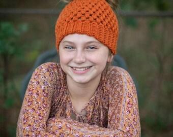Fall Messy bun beanie, Youth size , pumpkin spice beanie