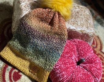 Knit beanie, Faux fur pom beanie, Fall hat