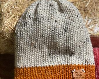 Youth Knit beanie, Pumpkin Spice,  Fall hat, Winter Beanie