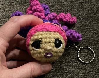 Crochet keychain, pink/purple curly hair ponytail