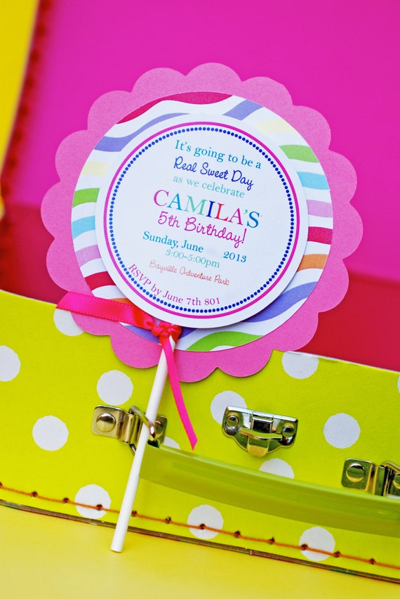 Custom candy party lollipop invitations etsy image 0 filmwisefo