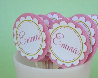 Name Personalized Cupcake Toppers - Set of 12
