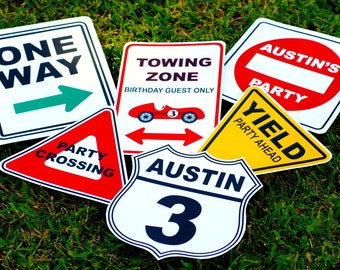 Vintage Race Car Party Signs - Personalized set of 6
