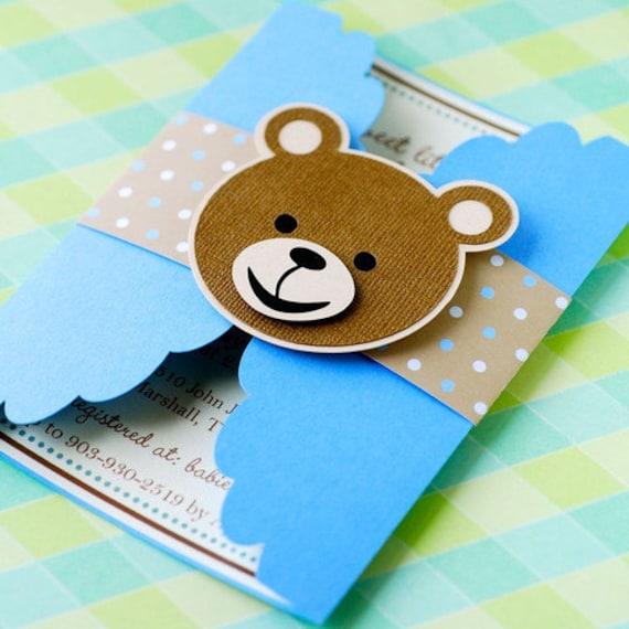 gate fold teddy bear invitations personalized etsy