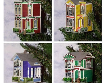Victorian House Pop-Up Ornament Greeting Cards / Set of 4