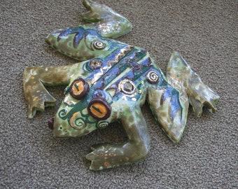 decorative frog, ceramic frog, individual frog, imaginative frog, colorful frog,