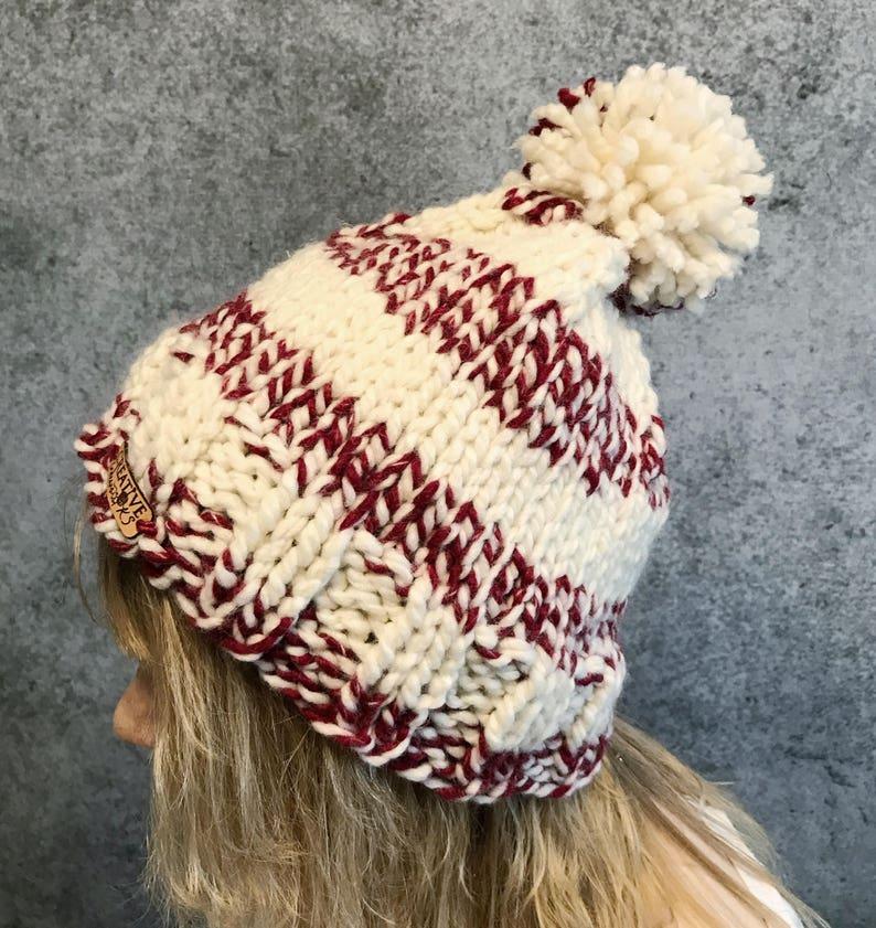 6f62b37b415 Pom Pom Hat Knit Beanie Womens Winter Hat Chunky Hat Knit