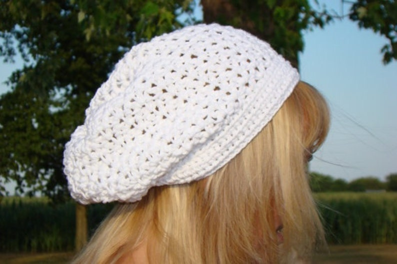Crochet Beanie White Slouch Hat Slouchy Hat Winter Fashion White Lace Hat Womens Cotton Tam