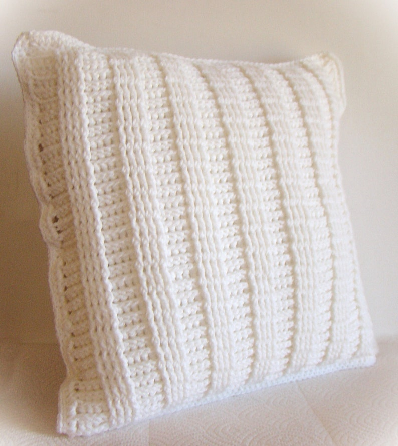 Crochet Decorative Pillow Cover Soft White Ladder Stitch Textured 14 x 14 Removable Made to Order