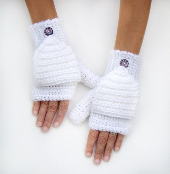 Mitones blancos Convertible mitones sin dedos guantes   Etsy