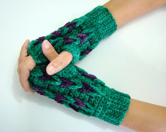 Green Purple Mittens, Crochet Textured Mittens, Texting Gloves, Fingerless Gloves, Chunky Open Mittens, Fingerless Mittens, Braided Mitts