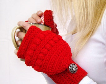 Cherry Red Convertible Fingerless Mittens, Crochet Glittens, Bright Red Texting Mittens, Women Crochet Gloves, Winter Fashion, Red Mittens