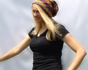 For Artists Exposed, Rainbow Slouch Hat, Crochet Beanie, Extra Slouchy Hat, Multicolor Slouch, Ladies Slouch Hat , Rainbow Beanie