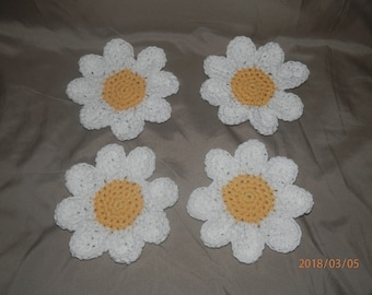 Daisy Coasters 100% Cotton Set of 4 or 6 Coffee Cup Mug Tea Glass Handmade Crochet