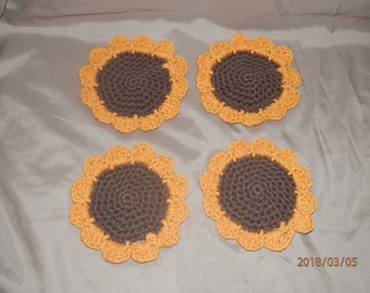 Sunflower Coasters 100% Cotton Set of 4 or 6 Coffee Cup Mug Tea Glass Handmade Crochet