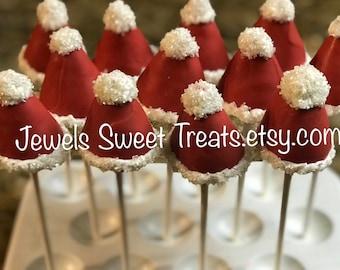 Christmas Santa Hats Gourmet Cake Balls Cake Pops Truffle 24 pack