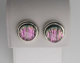 Hot Pink Dichroic Glass Earrings Dichroic Glass Jewelry Fused Glass Jewelry Stud Earrings
