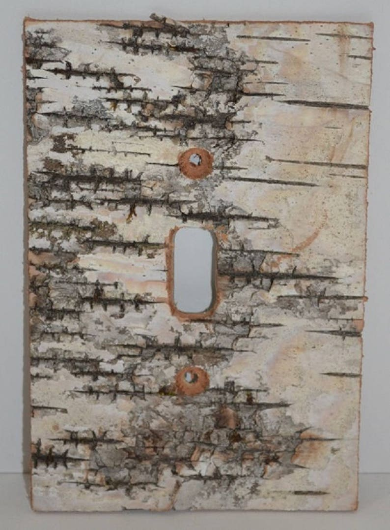 Birch Bark Switch Plate Receptacle and Rocker Plate Covers-No 1 Toggle