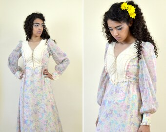 6c827f67566 Vintage 1970 s Cream Floral Prairie Dress - Long Sleeve Maxi Pink and  Purple Boho Hippie Gown - 70 s Festival Dress - Size Small