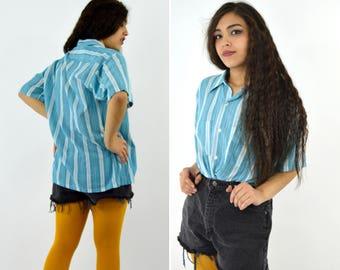 a6841c5d359 Vintage 80s Casual Blue Striped Summer Blouse - Button up Short Sleeve  White Cotton Blend Shirt - Size XLarge